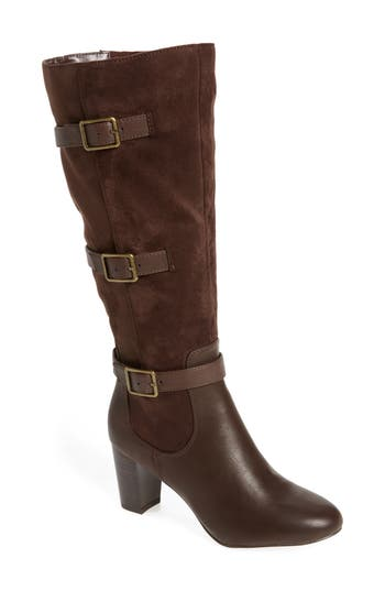 Bella Vita Talina Ii Belted Knee High Boot, Wide Calf- Brown
