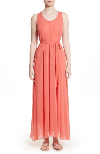 Fuzzi Belted Tulle Maxi Dress, Pink