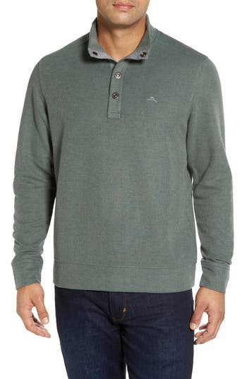 Tommy Bahama Cold Springs Snap Mock Neck Sweater, Green