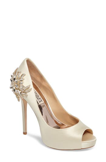 Badgley Mischka Marcia Embellished Peep Toe Pump- Ivory