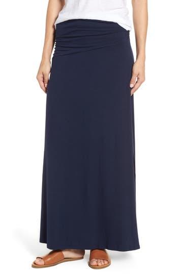 Bobeau Ruched Side Slit Maxi Skirt, Blue