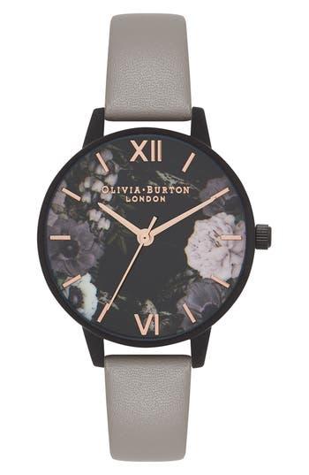 Women's Olivia Burton After Dark Floral Leather Strap Watch, 30Mm