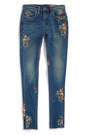 Girl's Blanknyc Embroidered Skinny Jeans, Size 7 - Blue