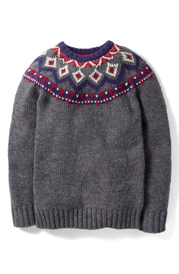 Toddler Boys Mini Boden Fair Aisle Wool Sweater Size 23Y  Grey