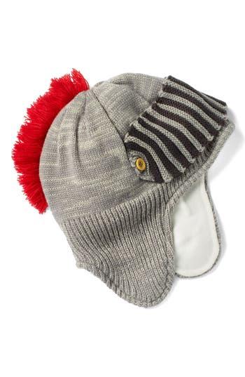 Toddler Boys Mini Boden Knight Helmet Knit Hat  Grey