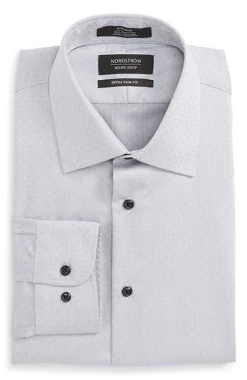 Men's Nordstrom Men's Shop Extra Trim Fit Non-Iron Herringbone Dress Shirt, Size 14.5 - 32/33 - Grey