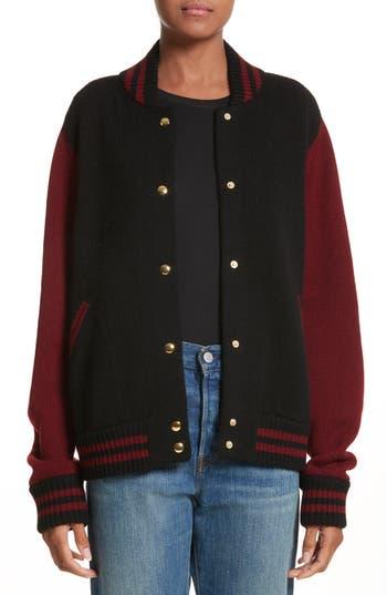 marc jacobs female womens marc jacobs wool cashmere knit varsity jacket size xsmall burgundy