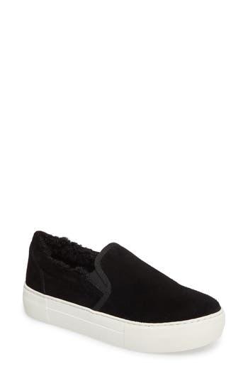 Jslides Arpel Faux Fur Lined Slip-On Sneaker- Black