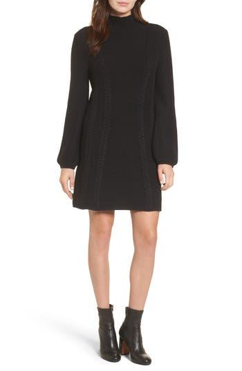 Caslon Cable Knit Sweater Dress, Black