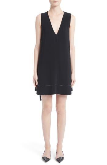 Proenza Schouler Flared Satin Back Crepe Dress, Black