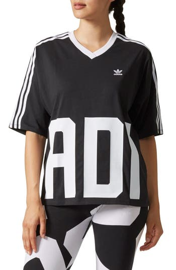 Adidas Bold Age Graphic V-Neck Tee, Black