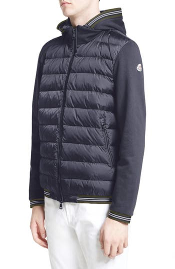 Moncler Maglia Quilted Front Jersey Hooded Jacket, Blue