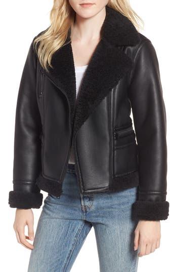 Women's Levi's Faux Shearling Moto Jacket, Size X-Small - Black