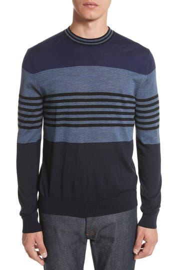 Paul Smith Stripe Merino Wool Crewneck Sweater, Blue
