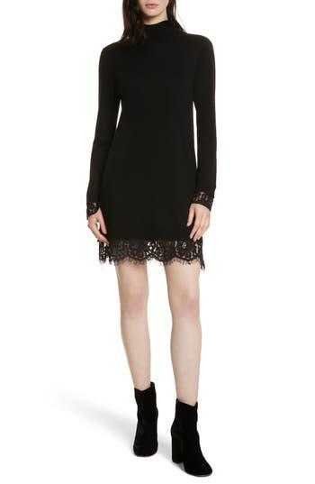Women's Joie Fredrika B Lace Trim Dress, Size XX-Small - Black
