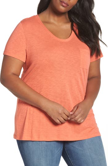 Plus Size Women's Caslon Rounded V-Neck Tee, Size 0X - Coral