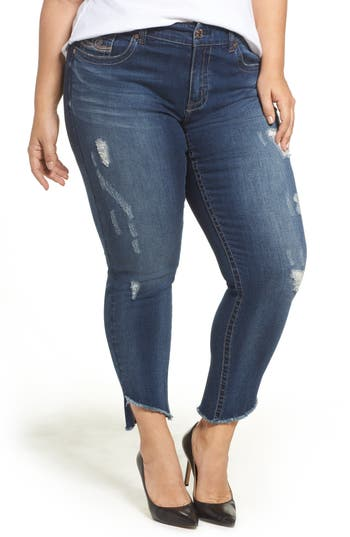 Distressed Slant Raw Hem Skinny Jeans
