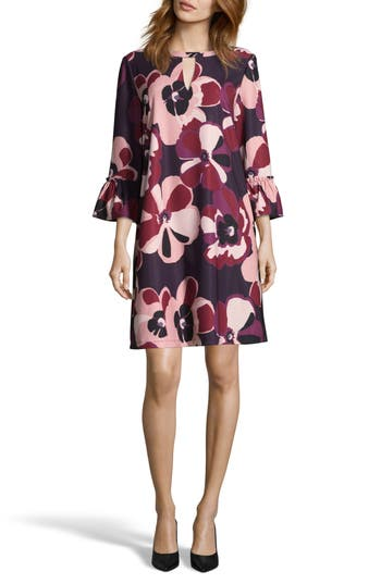Eci Print Crepe Trapeze Dress, Purple