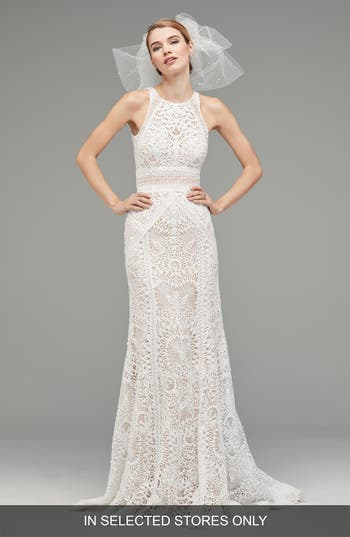 Watters Vendela Sleeveless Empire Waist Lace Gown, Size - Ivory