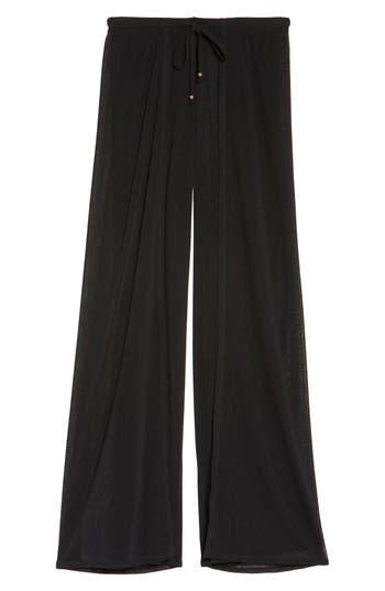 Robin Piccone Francesca Wide Leg Cover-Up Pants, Black
