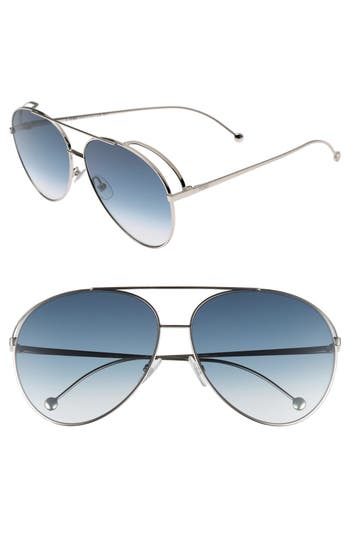 Fendi 52Mm Aviator Sunglasses - Palladium