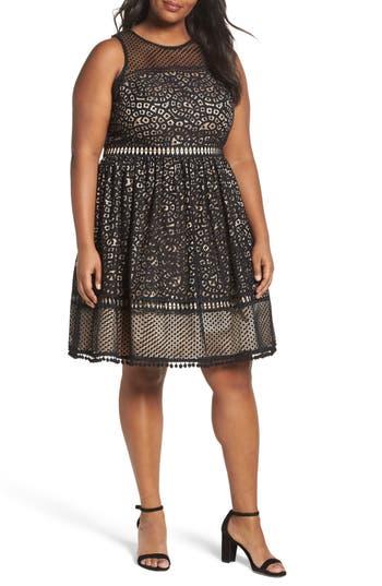Plus Size Eliza J Sleeveless Lace Trim Fit & Flare Dress, Black