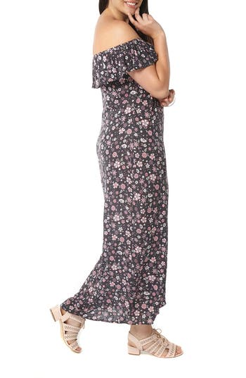 Plus Size Evans Ditsy Floral Convertible Maxi Dress,2 US / 26-28 UK - Black