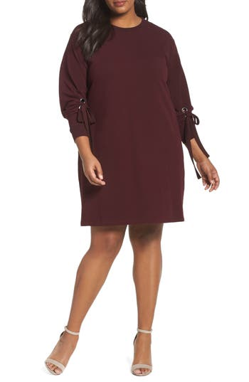 Plus Size Two By Vince Camuto Tie Sleeve French Terry Shift Dress, Red
