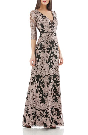 Js Collections Embroidered Lace Gown, White