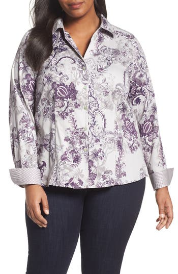Plus Size Foxcroft Floral Tapestry Shirt, Grey