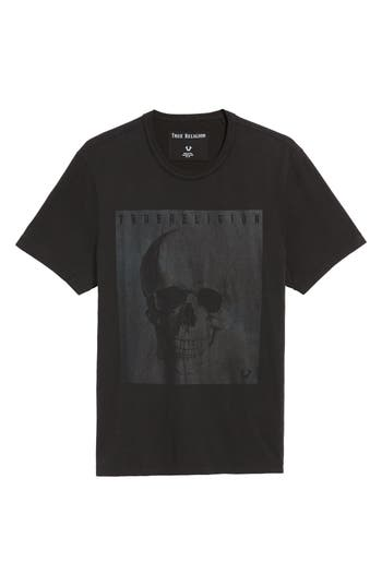 True Religion Brand Jeans Foil Print T-Shirt, Black