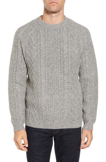Schott Nyc Fisherman Knit Wool Blend Sweater, Grey