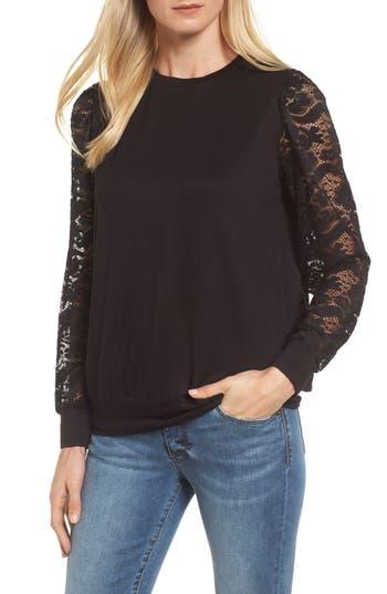 Women's Bobeau Lace Sleeve Sweatshirt, Size X-Small - Black