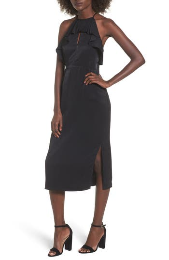 Everly Ruffle Neck Satin Midi Dress, Black