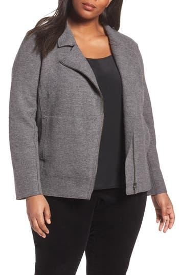 Plus Size Eileen Fisher Boiled Wool Moto Jacket, Grey