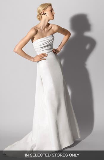 Carolina Herrera Florianne Strapless Silk Faille Trumpet Gown, Size IN STORE ONLY - Ivory