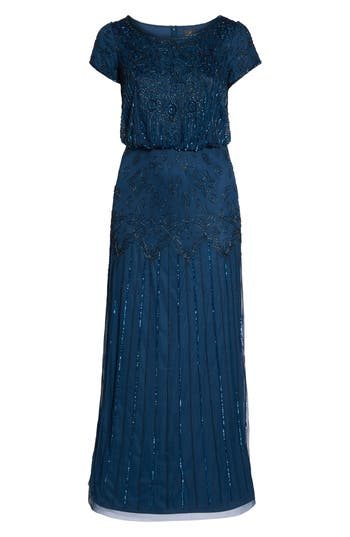 Plus Size Adrianna Papell Beaded Blouson Gown, Blue
