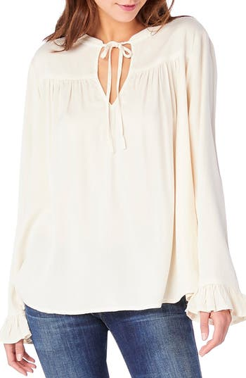 Michael Stars Split Neck Peasant Top, Ivory
