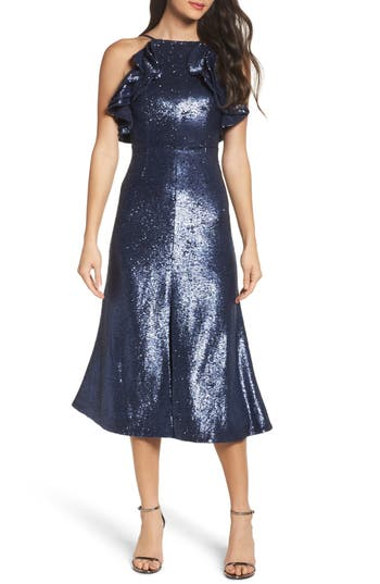 Women's C/meo Collective Illuminated Sequin Ruffle Midi Dress, Size X-Small - Blue