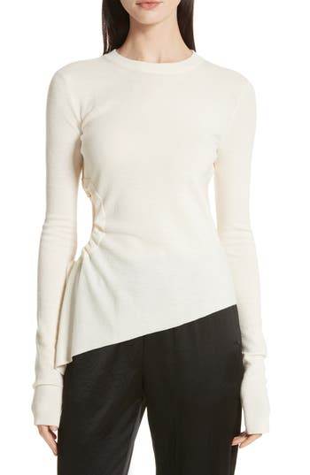 T By Alexander Wang Ruched Cutout Merino Wool Sweater, Ivory