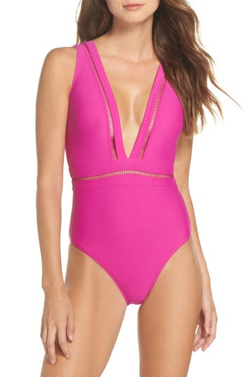 Ted Baker London Plunge One Piece Swimsuit, Pink