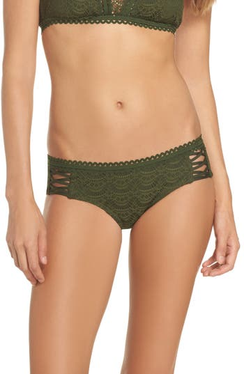Becca Lace Up Hipster Bikini Bottoms, Green