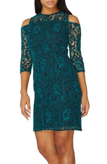 Dorothy Perkins Cold Shoulder Lace Dress, US / 8 UK - Green