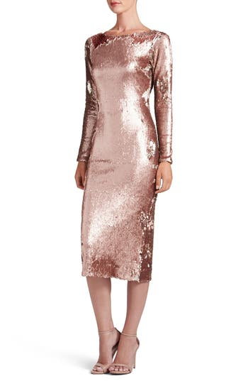 Dress The Population Emery Scoop Back Reversible Sequin Body-Con Dress, Pink