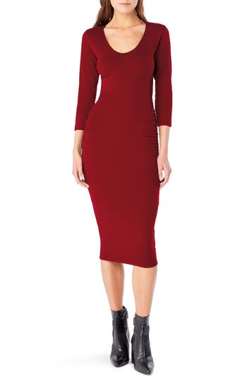 Michael Stars Ruched Midi Dress, Red