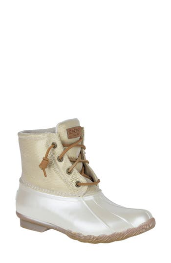 Sperry Saltwater Pearlized Duck Rain Boot, Ivory