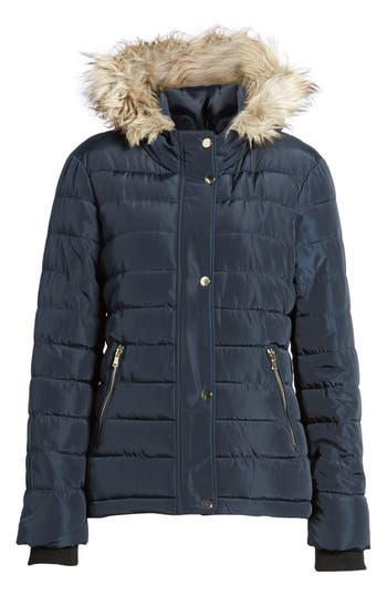 Women's Dorothy Perkins Faux Fur Trim Hooded Puffer Jacket at NORDSTROM.com