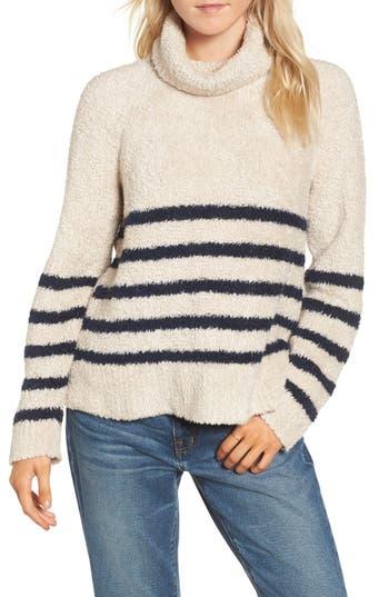 Women's Madewell Mariner Stripe Turtleneck Sweater, Size XX-Small - Grey