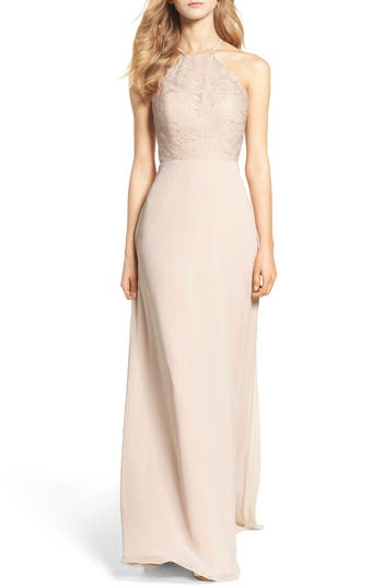 Hayley Paige Occasions Lace Halter Gown, Beige