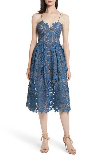 Self-Portrait Azaelea 3D Lace Fit & Flare Dress, Blue